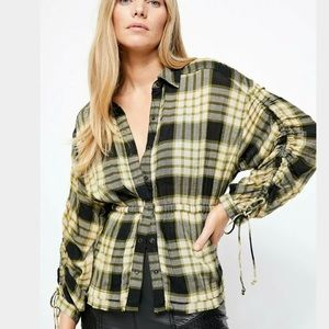 Free People Women's Ruched Plaid Shirt